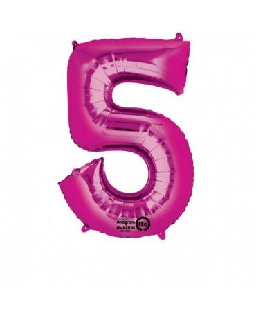 Fóliový balón číslo 5 -ružový 58x86cm