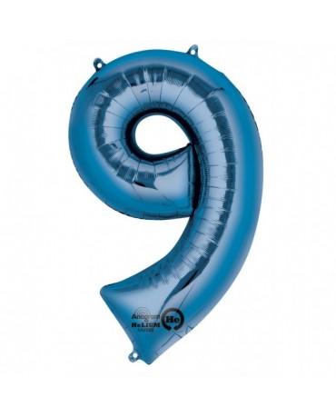 Fóliový balón číslo 9 -modrý 63x86cm
