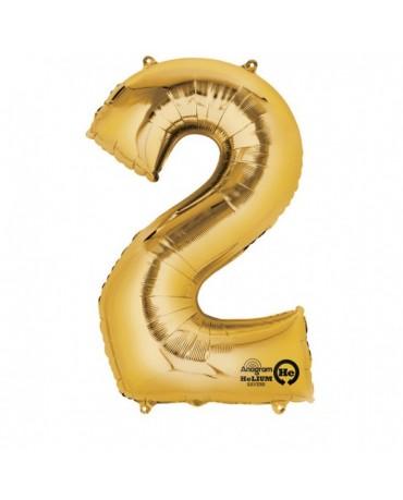 Fóliový balón číslo 2 -zlatý 50x88cm
