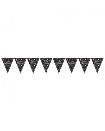 Banner vlajok Happy Birthday -čierny
