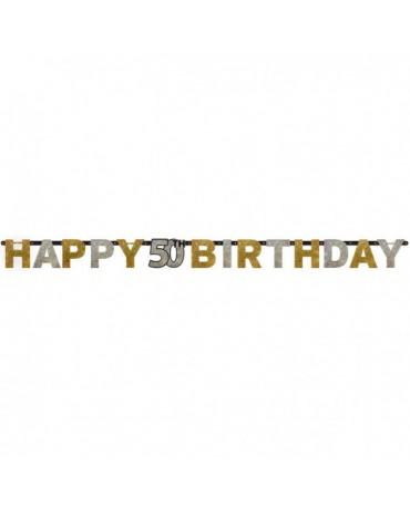 Banner Happy Birthday 50- strieborno-zlatý