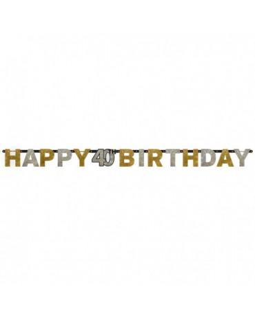 Banner Happy Birthday 40- strieborno-zlatý