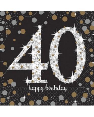Servítky 40. narodeniny -zlaté 33cm 16ks