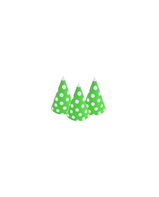 Zelené klobúčiky s bielymi bodkami 6ks/P110