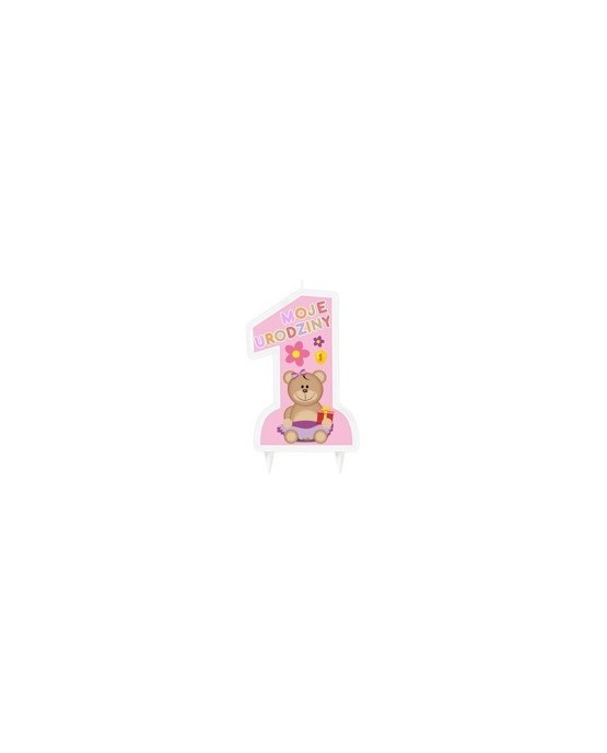 Sviečka - číslica 1 - ružová s medvedíkom 1ks/P239