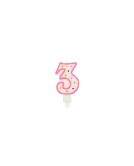 Sviečka - číslica 3 - ružová s bodkami 1ks/P26