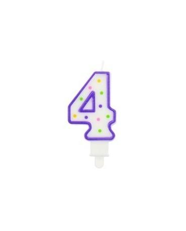 Sviečka - číslica 4 - fialová s bodkami 1ks/P26