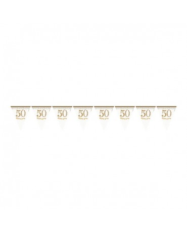 Banner vlajok číslice 50 - bielo-zlatý