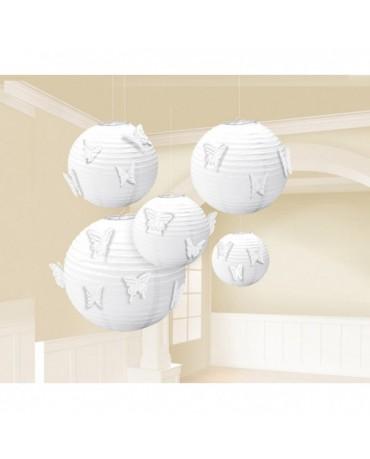Dekorácia lampión- biely s motýlmi 24cm 3ks
