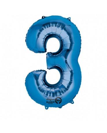 Fóliový balón číslo 3- modrý 53x88cm