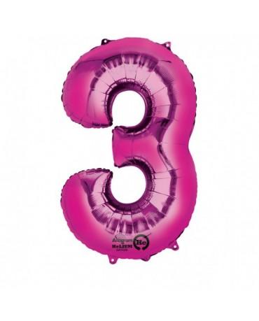 Fóliový balón číslo 3 -ružový 53x88cm
