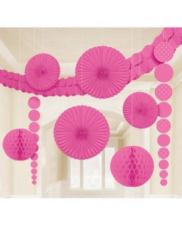 Ružový set dekorácií 9ks