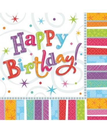 Servítky Happy Birthday -farebné 33x33cm 16 ks