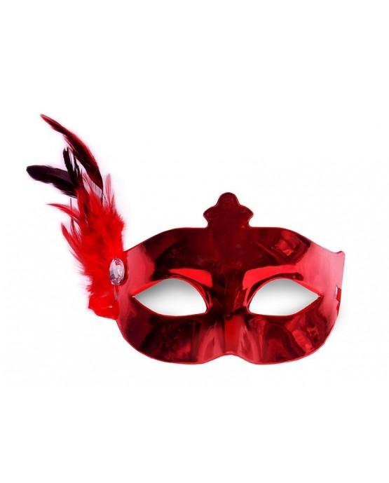 Benátska maska -červená s pierkom