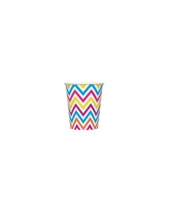 Papierové poháre - kľukatá dúha 266 ml 8ks/P123