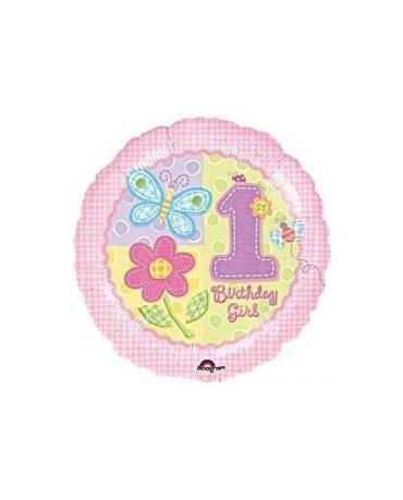 Fóliový balón číslo 1- motýle a kvety 47cm