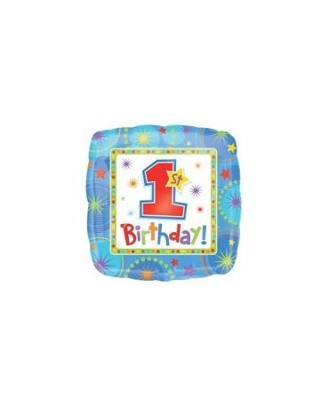 Fóliový balónik číslo - 1 Birthday -modrý 1ks 45cm/P146