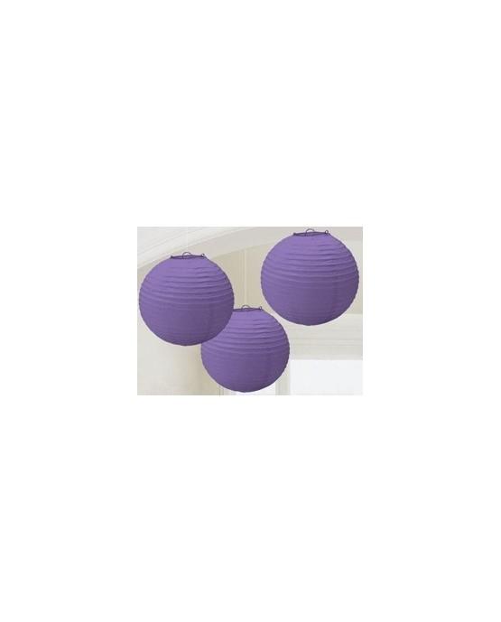 Dekorácia lampión- fialová lopta 3ks/P184
