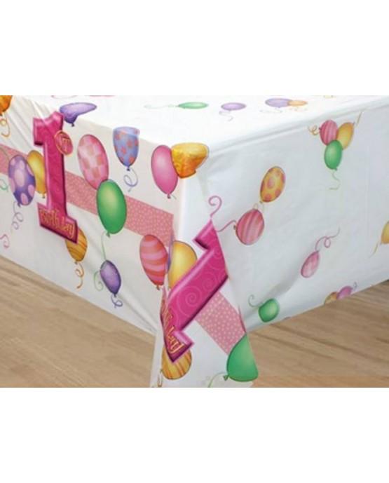 Obrus 1.narodeniny-ružové balóniky 137x213cm