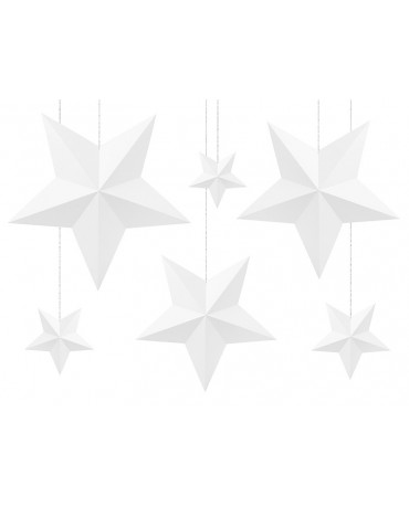 Dekorácia hviezdy -biele 6ks